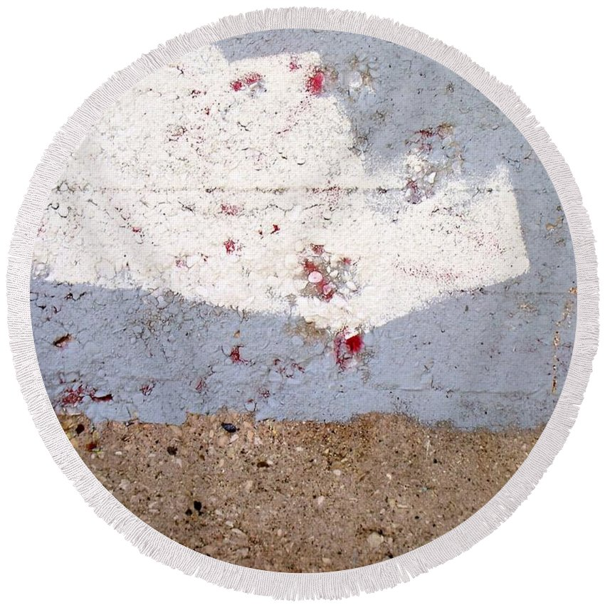 Industrial. Urban Round Beach Towel featuring the photograph Abstract Concrete 13 by Anita Burgermeister