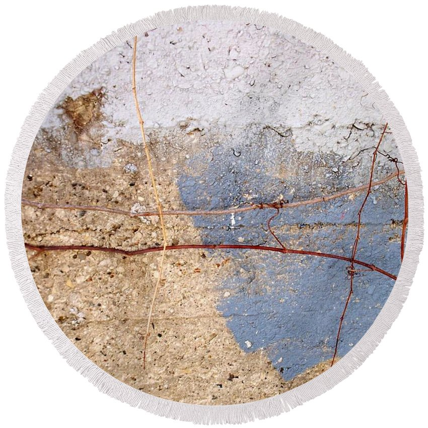Industrial. Urban Round Beach Towel featuring the photograph Abstract Concrete 15 by Anita Burgermeister