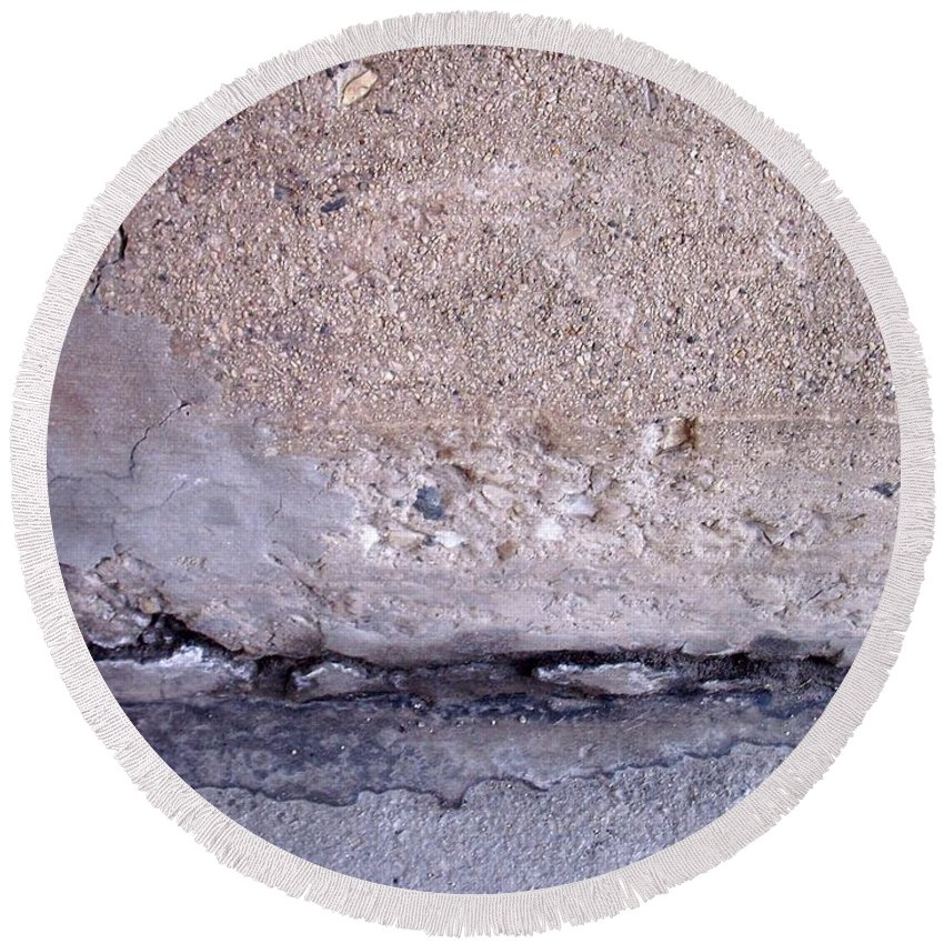 Industrial. Urban Round Beach Towel featuring the photograph Abstract Concrete 4 by Anita Burgermeister