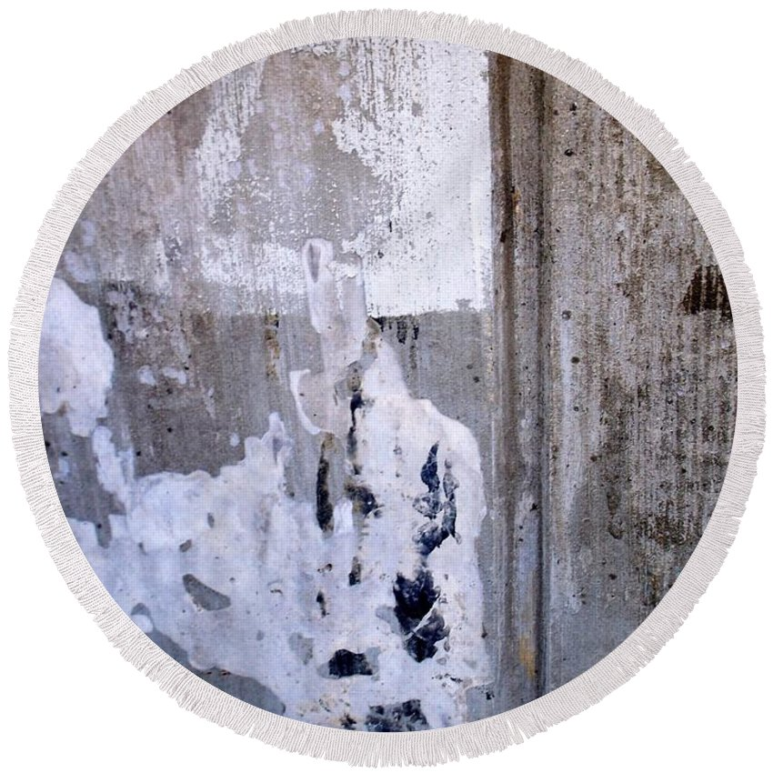 Industrial. Urban Round Beach Towel featuring the photograph Abstract Concrete 6 by Anita Burgermeister