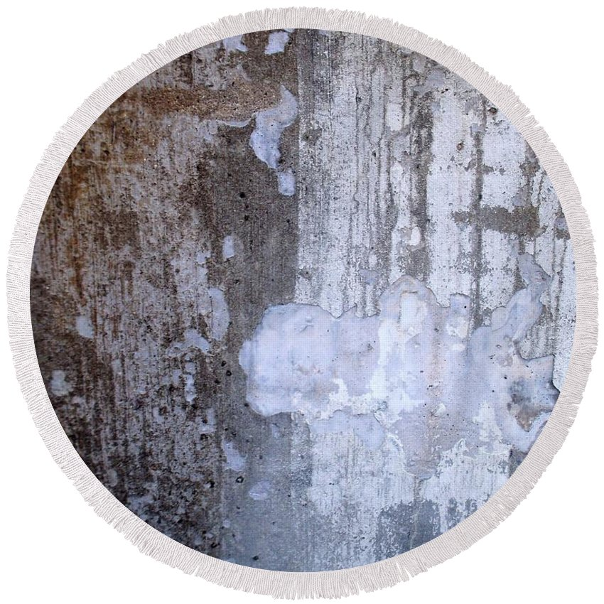 Industrial. Urban Round Beach Towel featuring the photograph Abstract Concrete 8 by Anita Burgermeister