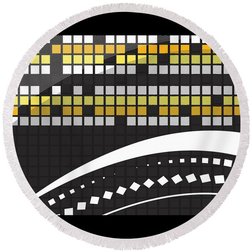 Abstract Round Beach Towel featuring the painting Abstract Crossword Puzzle Squares On Black by Elaine Plesser