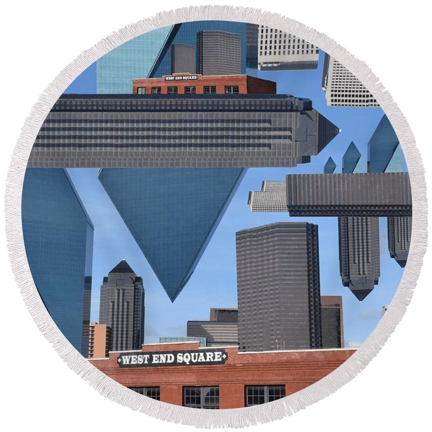 Round Beach Towel featuring the photograph Abstract Dallas by Emily Miller
