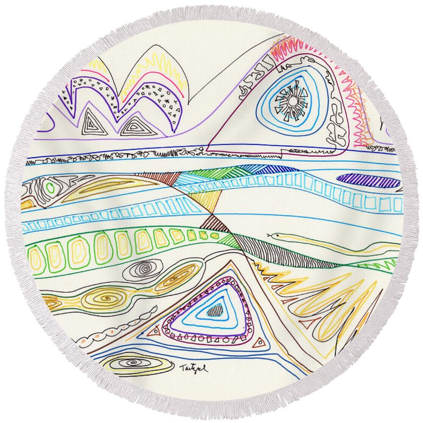 Abstract Round Beach Towel featuring the drawing Abstract Drawing Seventeen by Lynne Taetzsch