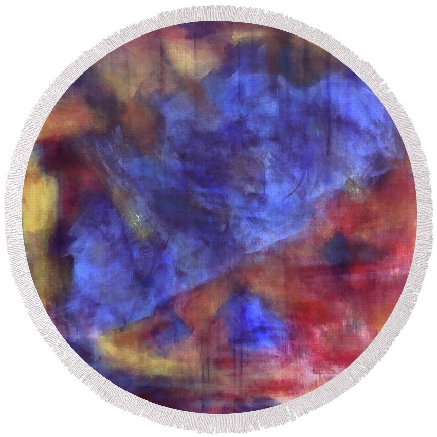 Colorful Round Beach Towel featuring the painting Abstract Energy by Ron Tango Jr