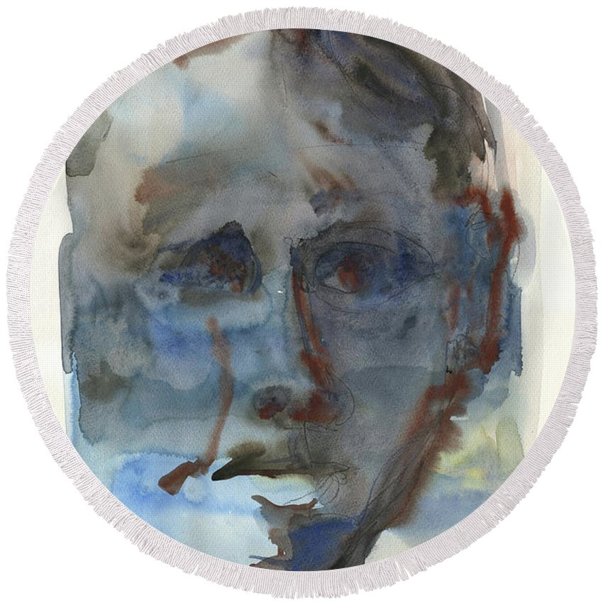 Abstract Face Round Beach Towel featuring the painting Abstract Face by Juan Bosco