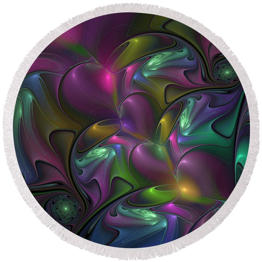 Abstract Round Beach Towel featuring the digital art Abstract Fantasy Fractal by Gabiw Art
