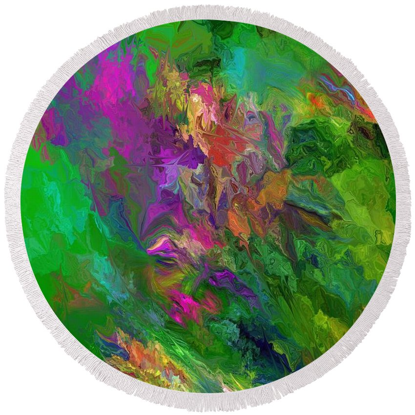 Fine Art Round Beach Towel featuring the digital art Abstract Floral Fantasy 071912 by David Lane
