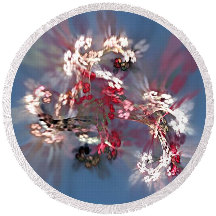 Floral Round Beach Towel featuring the digital art Abstract Floral Fantasy by David Lane