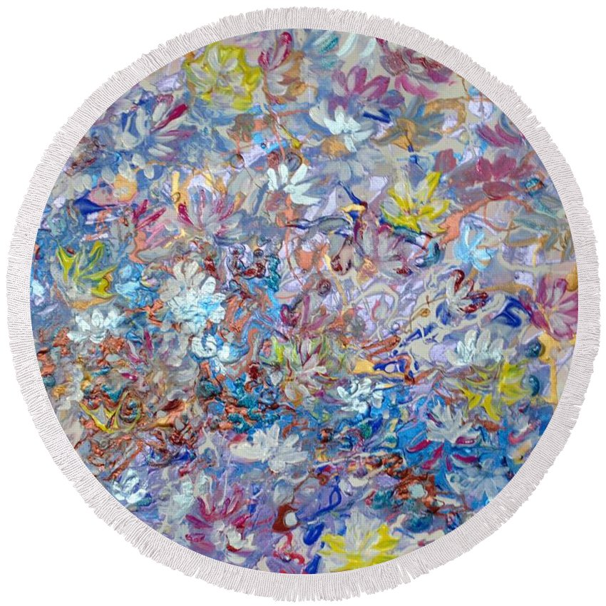 Purple Round Beach Towel featuring the painting Abstract Floral by Karin Dawn Kelshall- Best