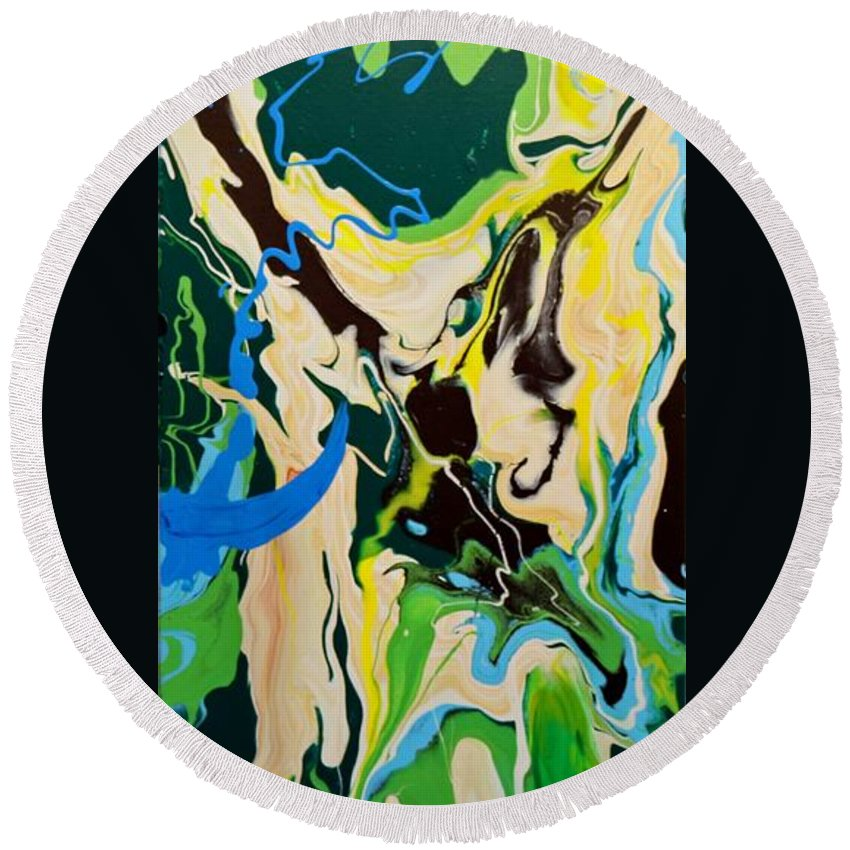 Abstract Round Beach Towel featuring the painting Abstract Flow Green-blue Series No.1 by Carole Sluski