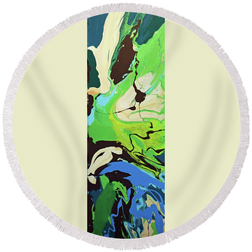 Abstract Round Beach Towel featuring the painting Abstract Flow Green-blue Series No.3 by Carole Sluski