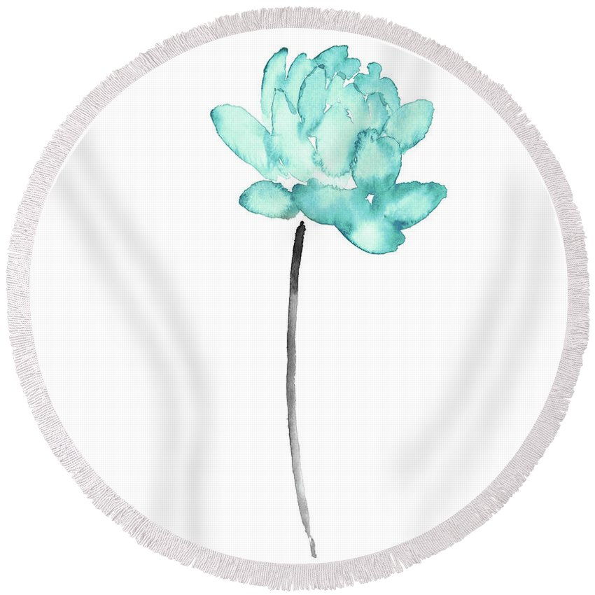 Blue lotus flower watercolor painting abstract flower art print painting watercolor round beach towel featuring the painting blue lotus flower watercolor painting abstract flower mightylinksfo
