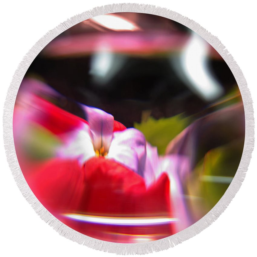 Abstract Round Beach Towel featuring the photograph Abstract Flowers Part Two by Scott Wyatt