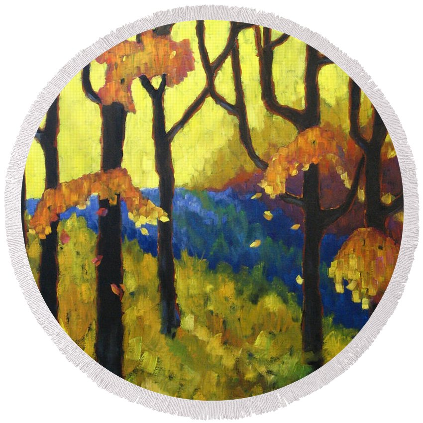 Art Round Beach Towel featuring the painting Abstract Forest by Richard T Pranke