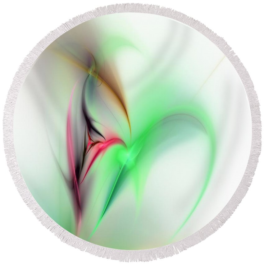 Digital Painting Round Beach Towel featuring the digital art Abstract Fractal 052810 by David Lane