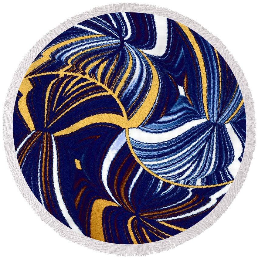 Abstract Round Beach Towel featuring the digital art Abstract Fusion 279 by Will Borden