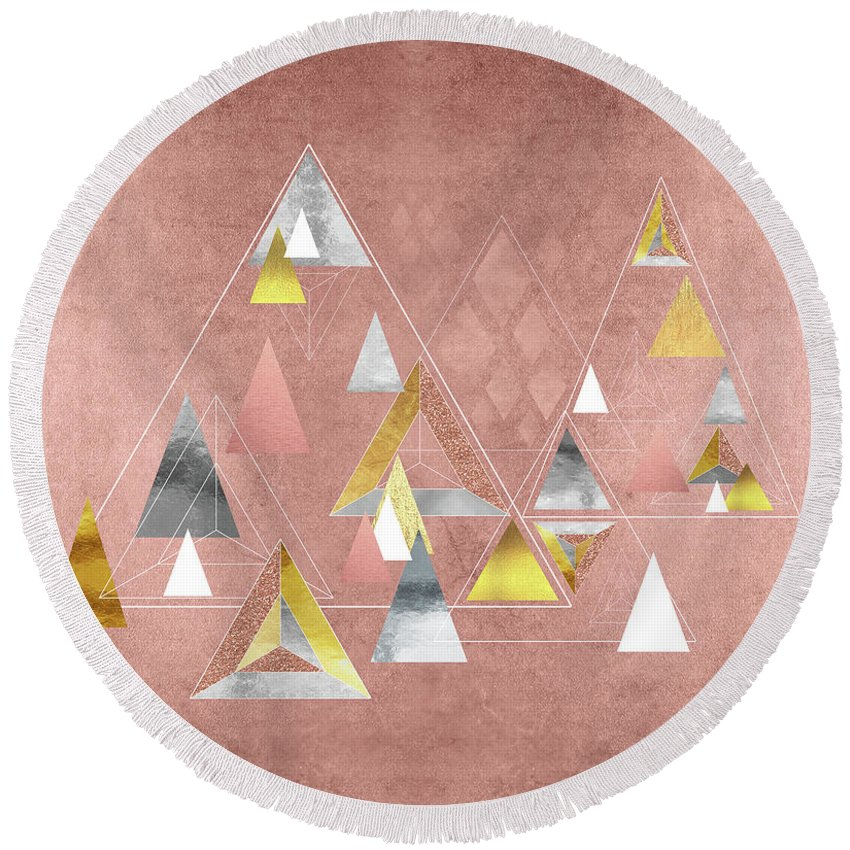Triangles Round Beach Towel featuring the painting Abstract Geometric Triangles, Gold, Silver Rose Gold by Tina Lavoie