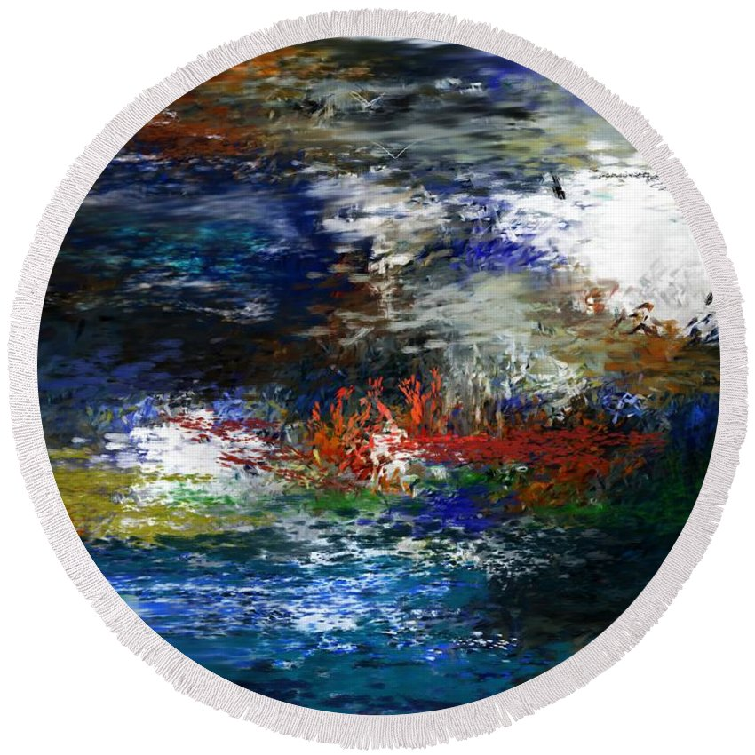 Abstract Round Beach Towel featuring the digital art Abstract Impression 5-9-09 by David Lane