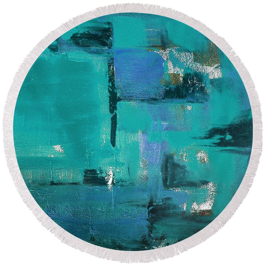 Abstract Round Beach Towel featuring the painting Abstract In Blue by Gina De Gorna