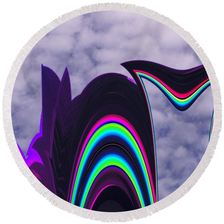 Abstract Round Beach Towel featuring the photograph Abstract In The Clouds by Tim Allen