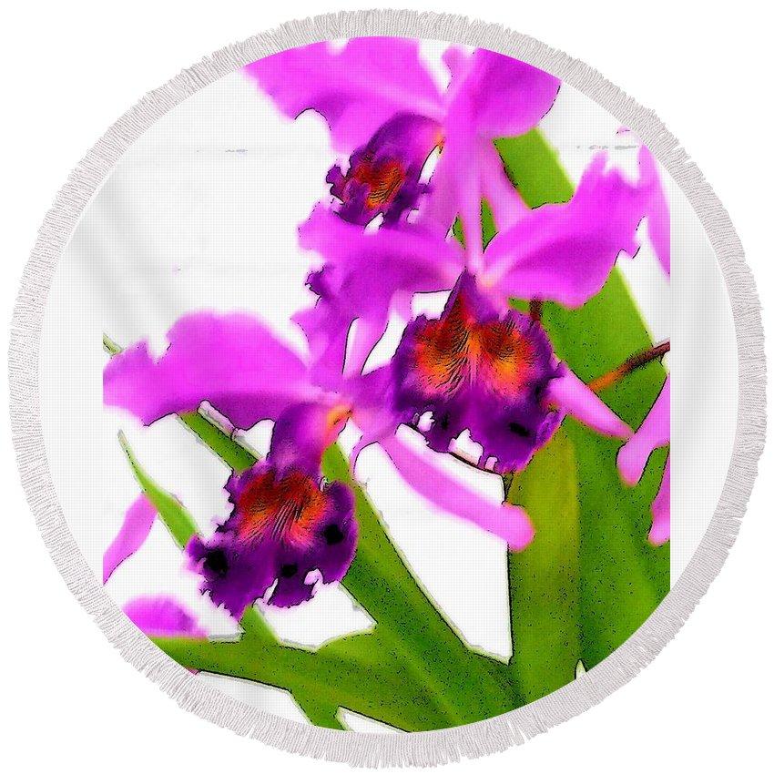 Flowers Round Beach Towel featuring the digital art Abstract Iris by Anita Burgermeister