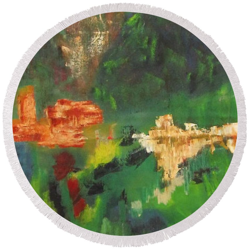 Abstract Round Beach Towel featuring the painting Abstract Landscape by Patricia Cleasby
