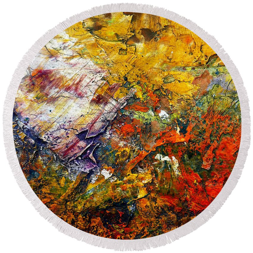 Abstract Round Beach Towel featuring the painting Abstract by Michal Boubin