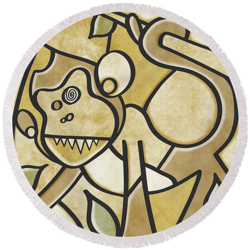 Abstract Monkee Round Beach Towel featuring the painting Funky Monkey - Zeeko Abstract Monkey by Roly O