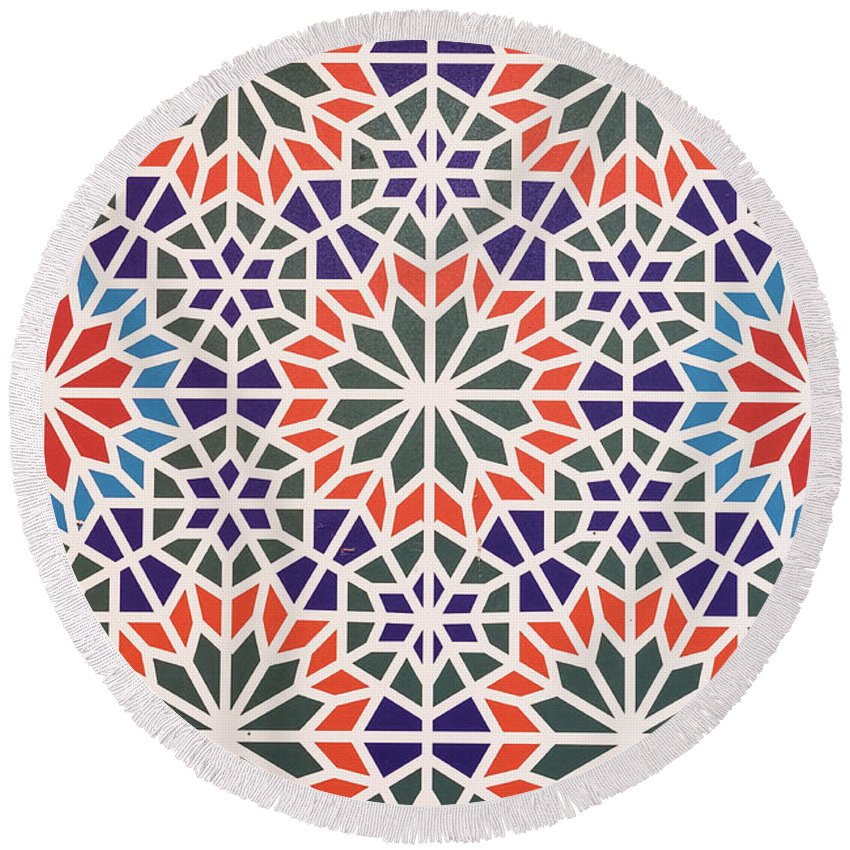 Abstract Round Beach Towel featuring the mixed media Abstract Moroccon Tiles Colorful by Lyriel Lyra