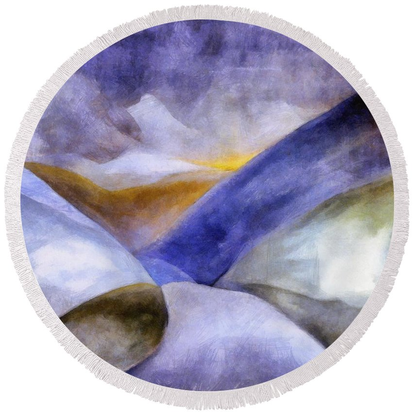Blue Round Beach Towel featuring the painting Abstract Mountain Landscape by Michelle Calkins