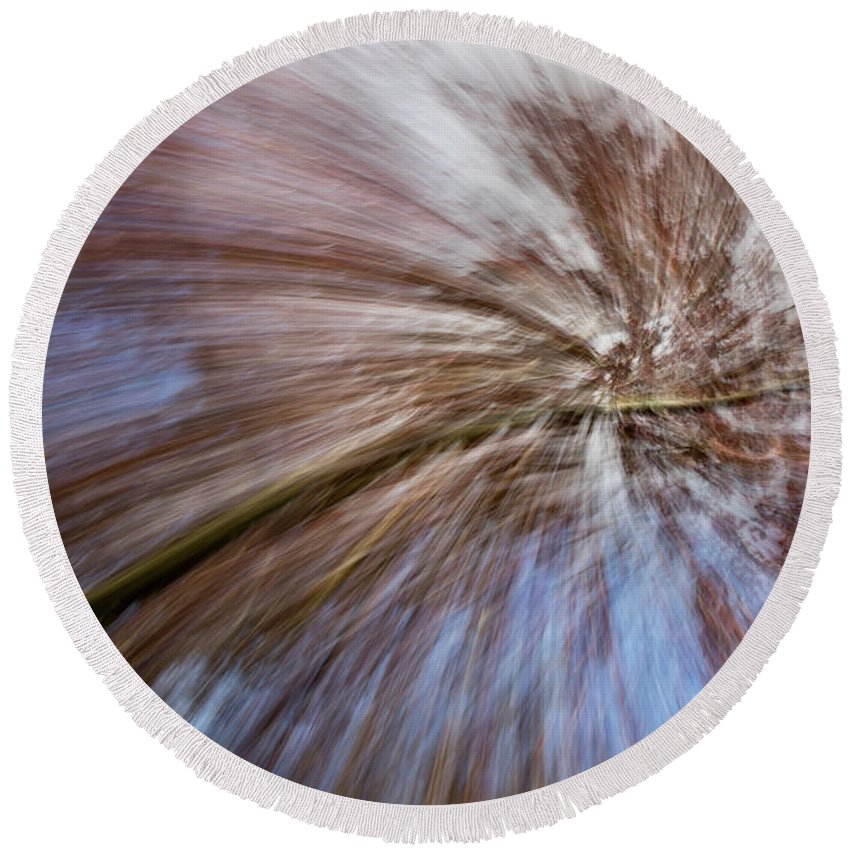 Abstract Round Beach Towel featuring the photograph Abstract Of A Spring Tree In Bloom. In Camera Effect. by Matthew Kirsch