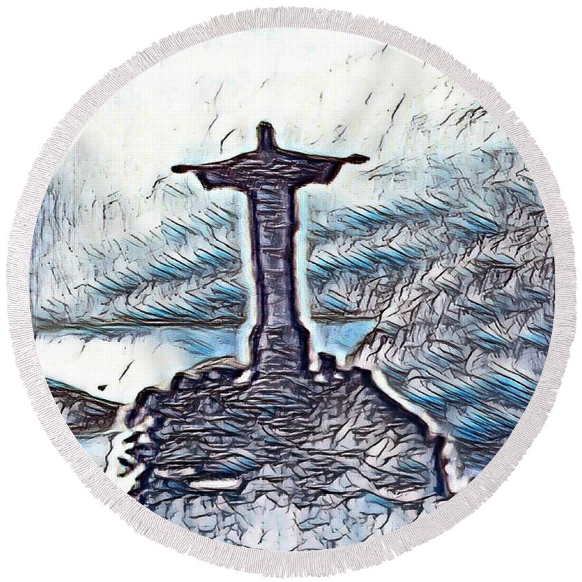 Jesus Round Beach Towel featuring the mixed media Abstract Of Our Saviour by John Malone