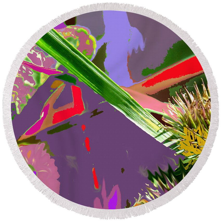 Abstract Round Beach Towel featuring the digital art Abstract One by Ian MacDonald