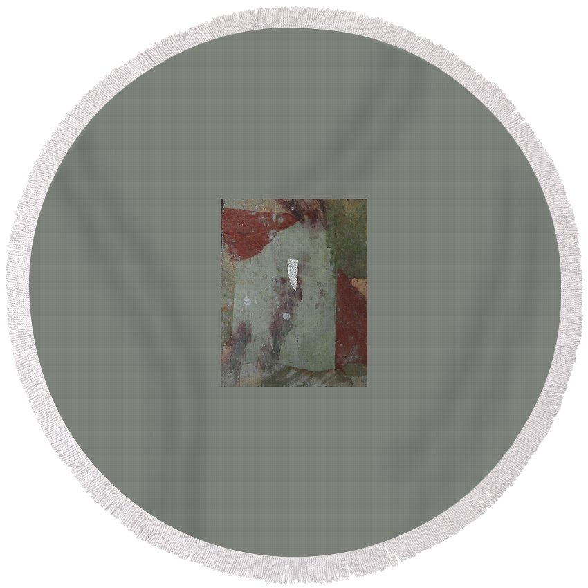 Round Beach Towel featuring the mixed media Abstract One by Pat Snook