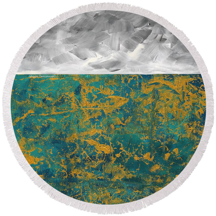 Abstract Round Beach Towel featuring the painting Abstract Original Painting Contemporary Metallic Gold And Teal With Gray Madart by Megan Duncanson