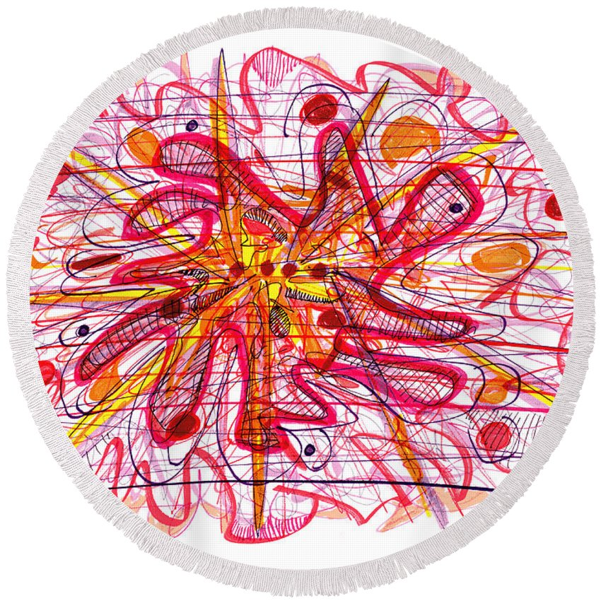 Abstract Art Round Beach Towel featuring the drawing Abstract Pen Drawing Fifteen by Lynne Taetzsch