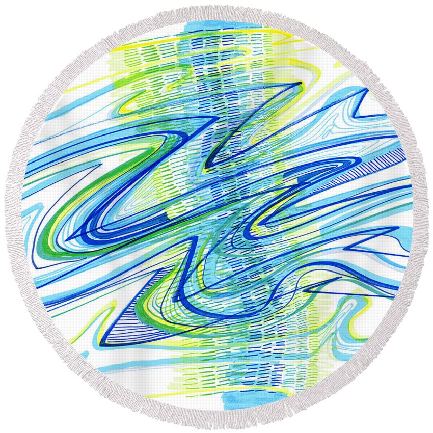 Abstract Round Beach Towel featuring the drawing Abstract Pen Drawing Forty by Lynne Taetzsch