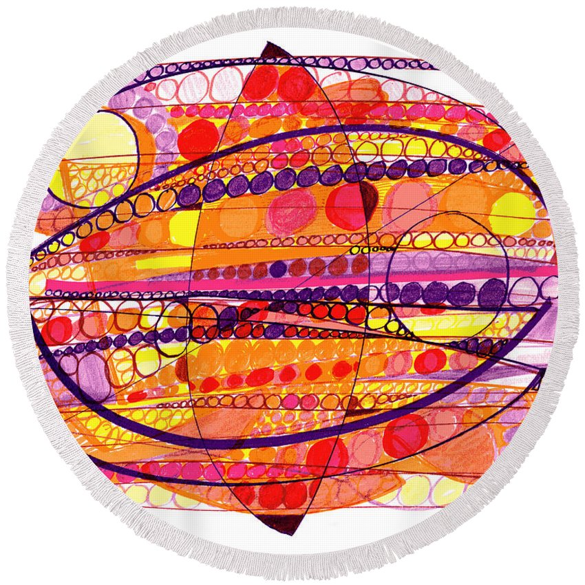 Abstract Art Round Beach Towel featuring the drawing Abstract Pen Drawing Fourteen by Lynne Taetzsch