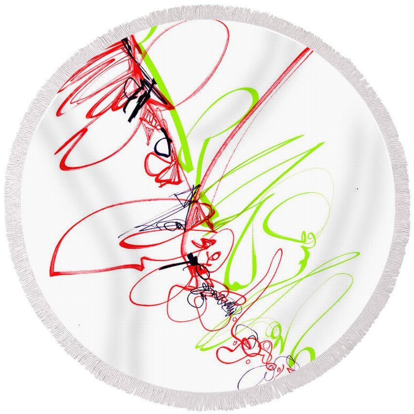 Abstract Round Beach Towel featuring the drawing Abstract Pen Drawing Seventy by Lynne Taetzsch