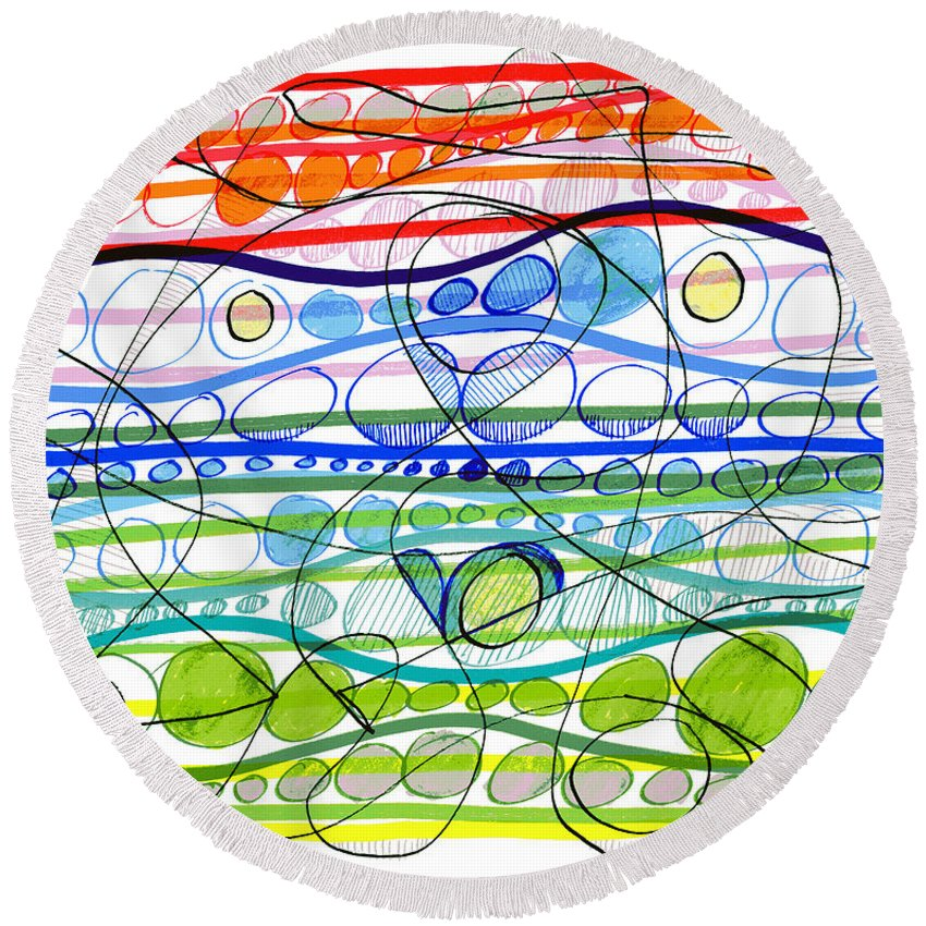 Abstract Round Beach Towel featuring the drawing Abstract Pen Drawing Sixteen by Lynne Taetzsch