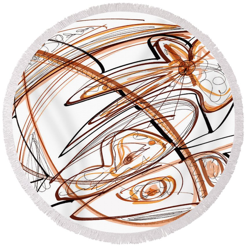 Abstract Art Round Beach Towel featuring the drawing Abstract Pen Drawing Ten by Lynne Taetzsch