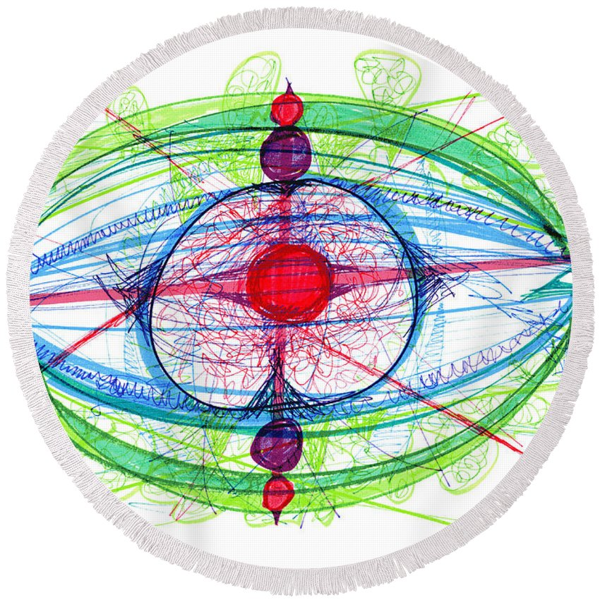 Abstract Round Beach Towel featuring the drawing Abstract Pen Drawing Thirty-one by Lynne Taetzsch
