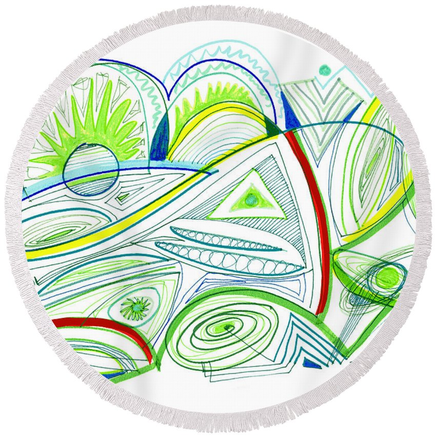 Abstract Round Beach Towel featuring the drawing Abstract Pen Drawing Thirty-two by Lynne Taetzsch
