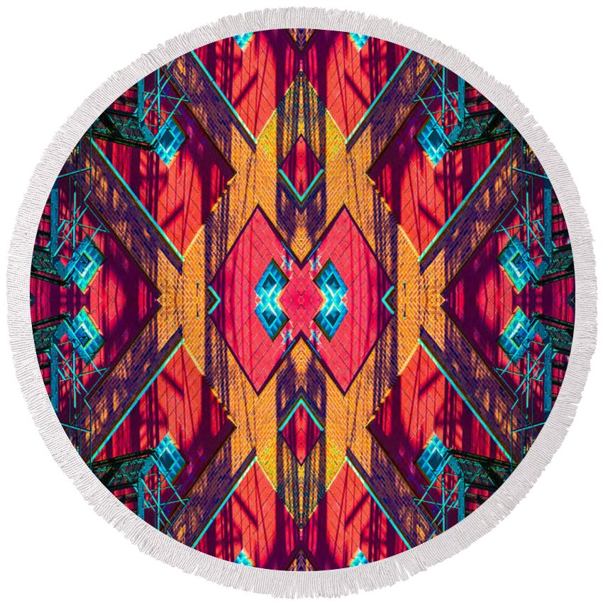 Round Beach Towel featuring the photograph Abstract Photomontage No 5 by Raymond Kunst