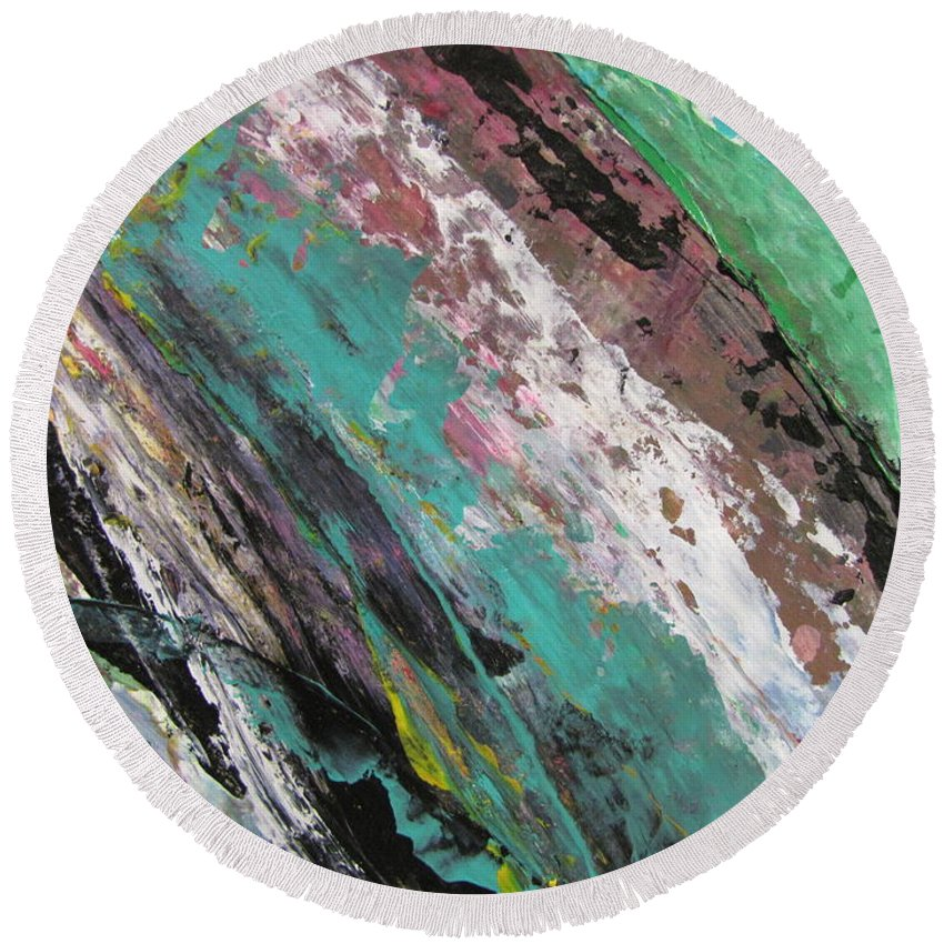 Abstract Round Beach Towel featuring the painting Abstract Piano 2 by Anita Burgermeister