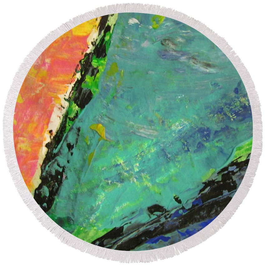 Abstract Round Beach Towel featuring the painting Abstract Piano 4 by Anita Burgermeister