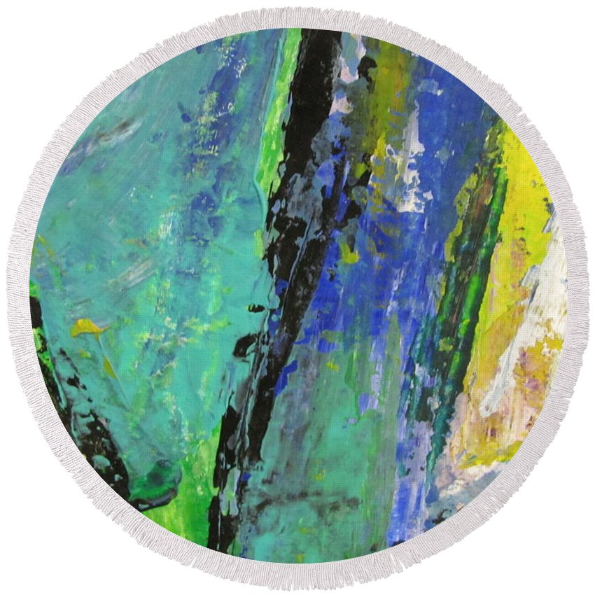 Abstract Round Beach Towel featuring the painting Abstract Piano 5 by Anita Burgermeister