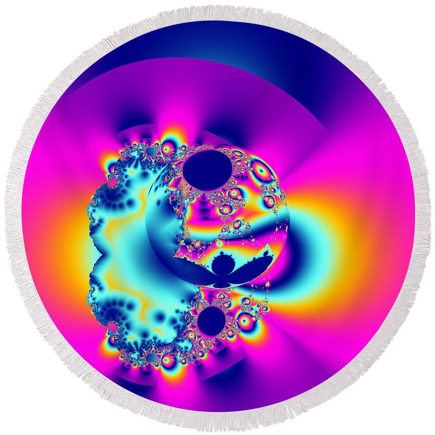 Abstract Round Beach Towel featuring the digital art Abstract Pink And Turquoise Fractal Globe by Tracey Everington