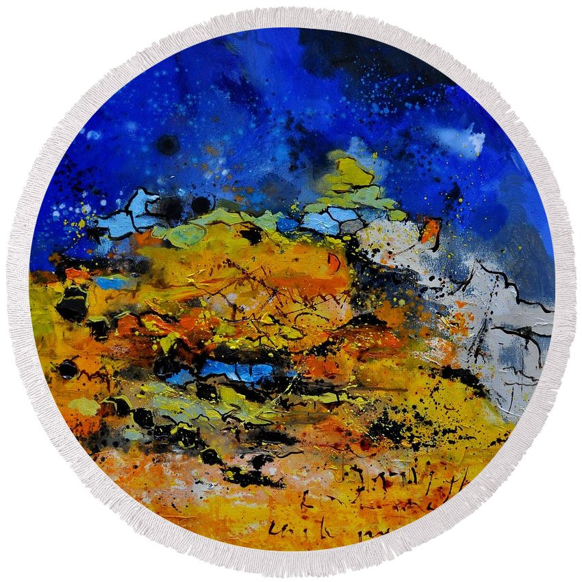 Abstract Round Beach Towel featuring the painting Abstract by Pol Ledent